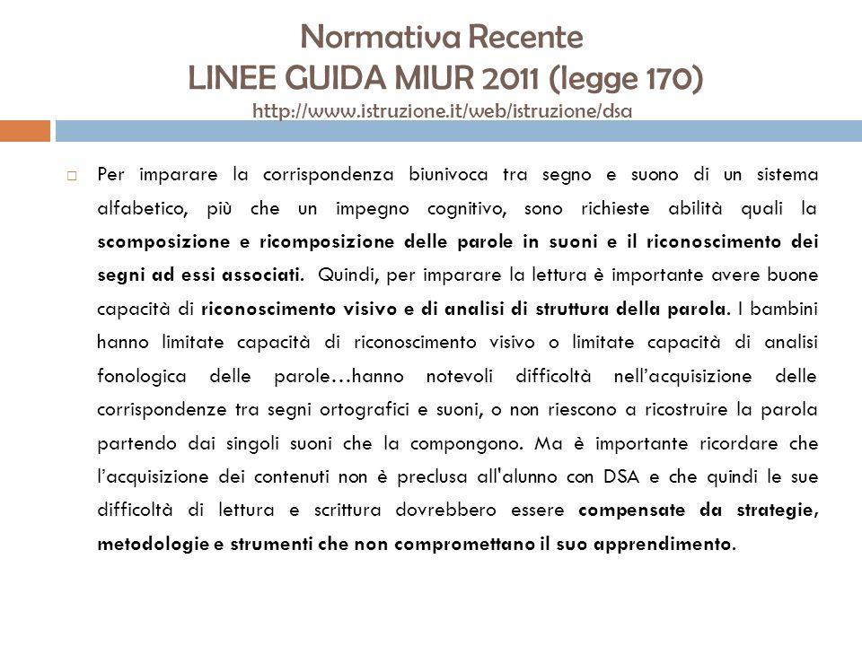Normativa Recente LINEE GUIDA MIUR 2011 (legge 170) http://www.istruzione.it/web/istruzione/dsa Come è noto, la diagnosi di DSA può essere formulata con certezza alla fine della seconda classe della scuola primaria.