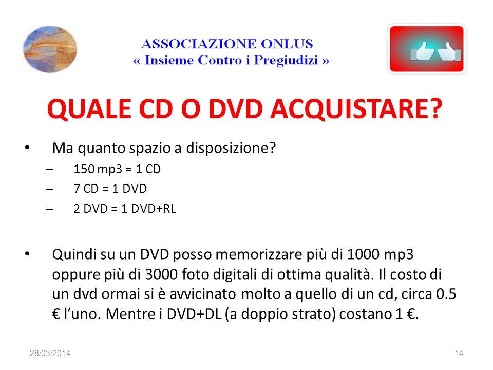 QUALE CD O DVD ACQUISTARE? Ma quanto spazio a disposizione? – 150 mp3 = 1 CD – 7 CD = 1 DVD – 2 DVD = 1 DVD+RL Quindi su un DVD posso memorizzare più