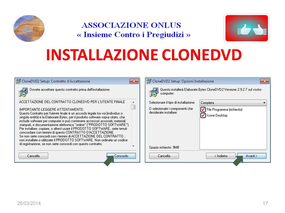 INSTALLAZIONE CLONEDVD 1728/03/2014