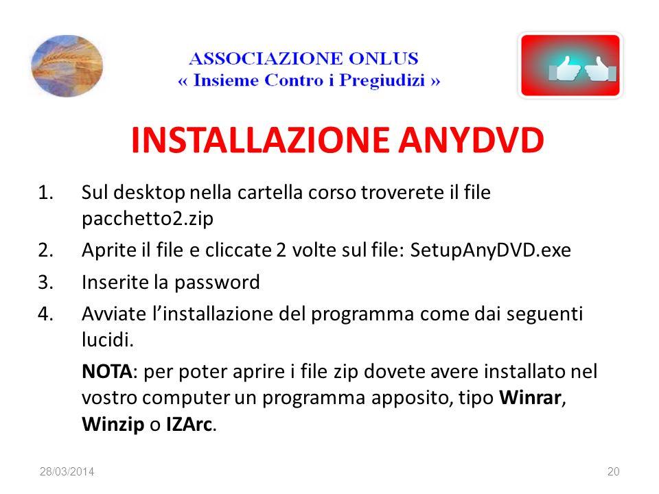 INSTALLAZIONE ANYDVD 1.Sul desktop nella cartella corso troverete il file pacchetto2.zip 2.Aprite il file e cliccate 2 volte sul file: SetupAnyDVD.exe