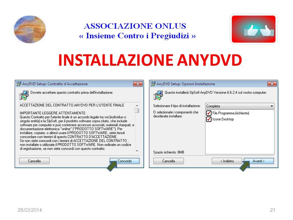 INSTALLAZIONE ANYDVD 2128/03/2014