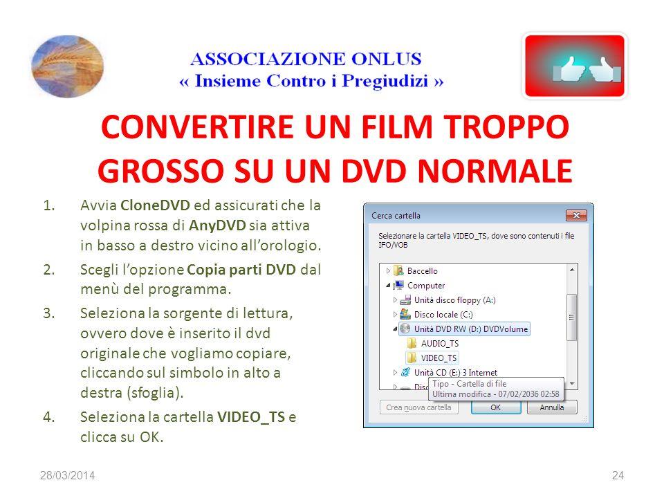CONVERTIRE UN FILM TROPPO GROSSO SU UN DVD NORMALE 1.Avvia CloneDVD ed assicurati che la volpina rossa di AnyDVD sia attiva in basso a destro vicino a