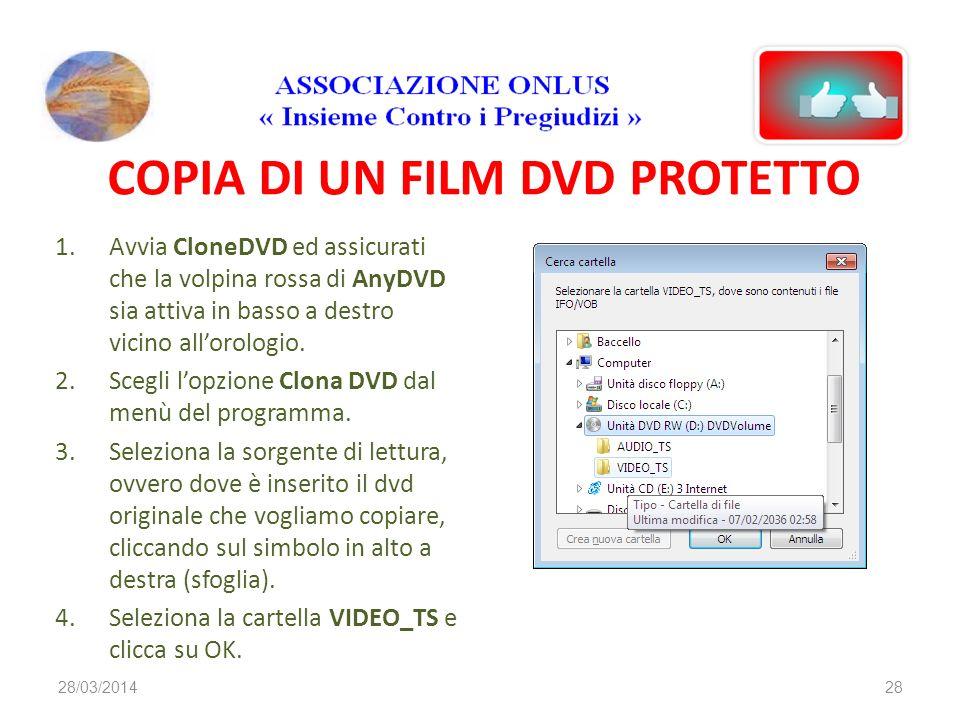COPIA DI UN FILM DVD PROTETTO 1.Avvia CloneDVD ed assicurati che la volpina rossa di AnyDVD sia attiva in basso a destro vicino allorologio.