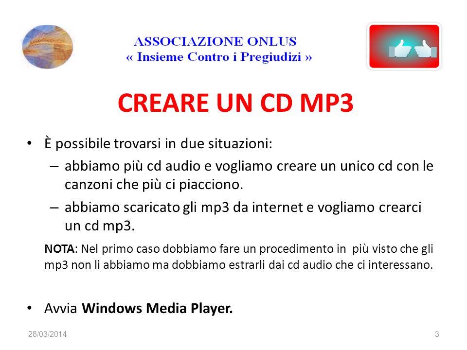 CREARE UN CD MP3 È possibile trovarsi in due situazioni: – abbiamo più cd audio e vogliamo creare un unico cd con le canzoni che più ci piacciono. – a