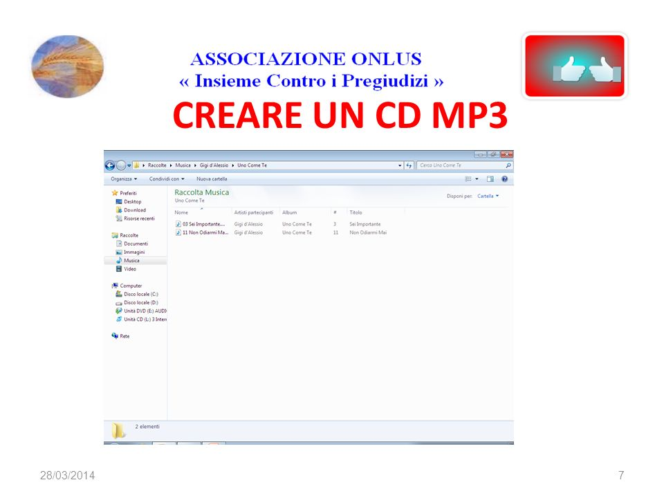 CREARE UN CD MP3 728/03/2014