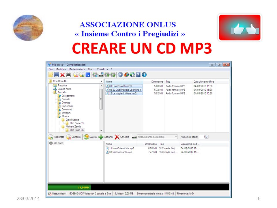 CREARE UN CD MP3 928/03/2014