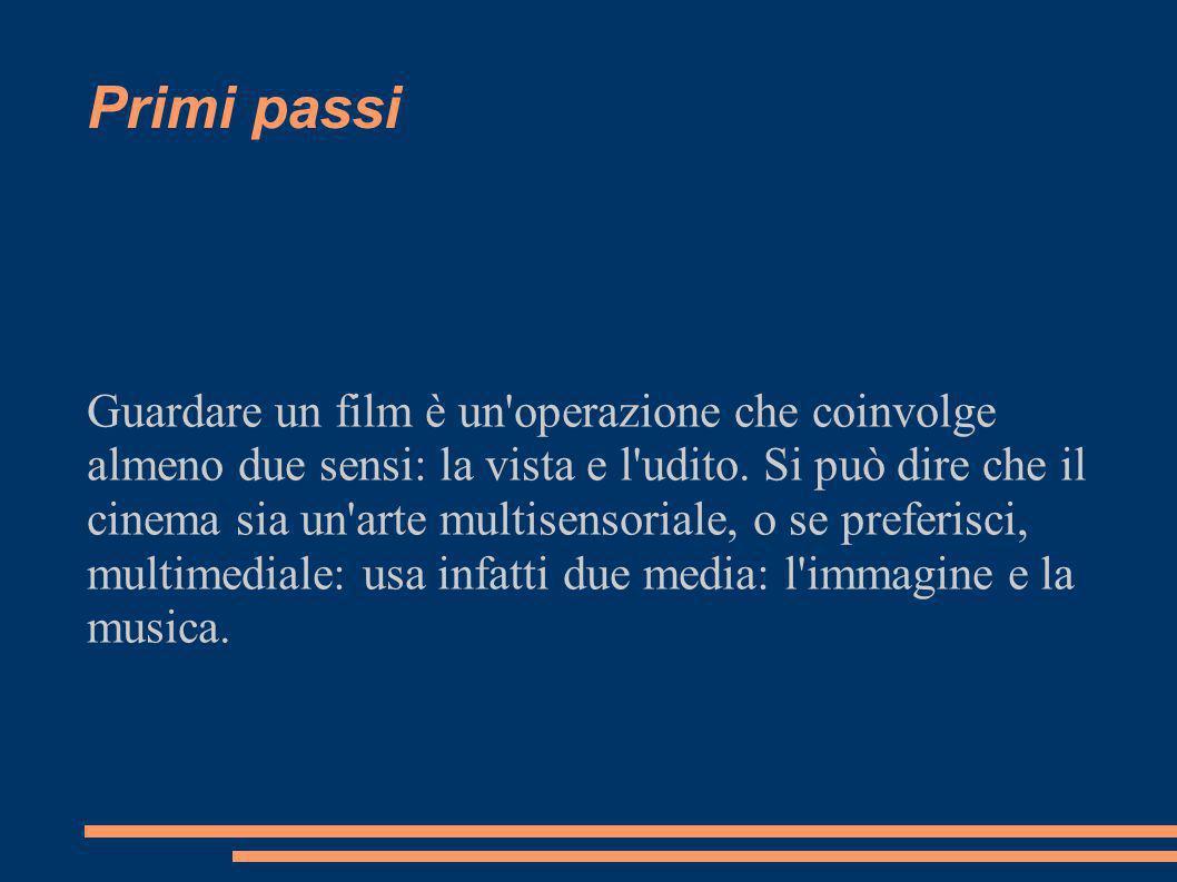 Primi passi Guardare un film è un operazione che coinvolge almeno due sensi: la vista e l udito.