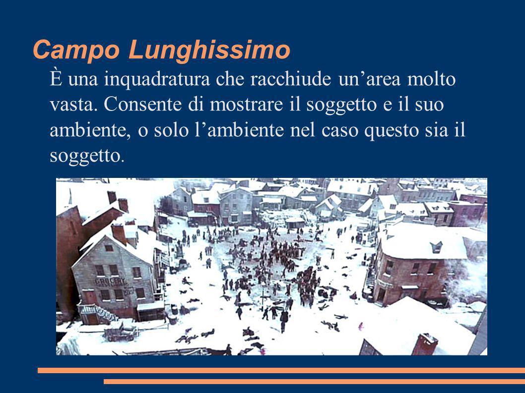 Campo Lunghissimo È una inquadratura che racchiude unarea molto vasta.