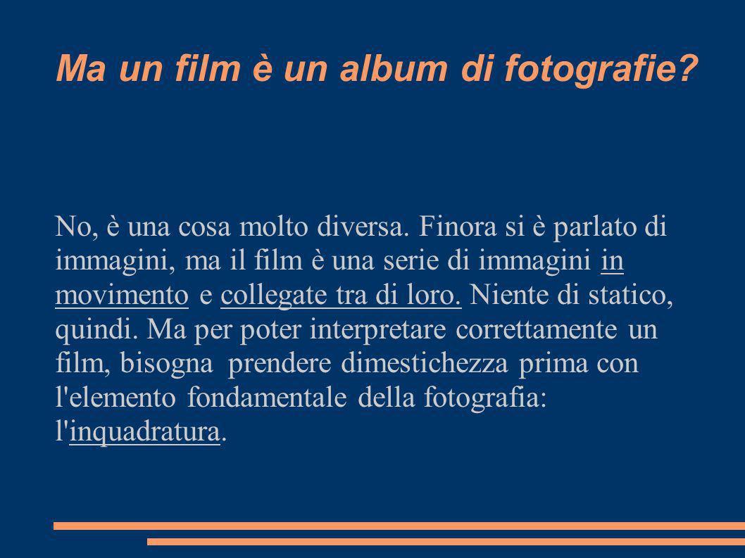 Ma un film è un album di fotografie. No, è una cosa molto diversa.