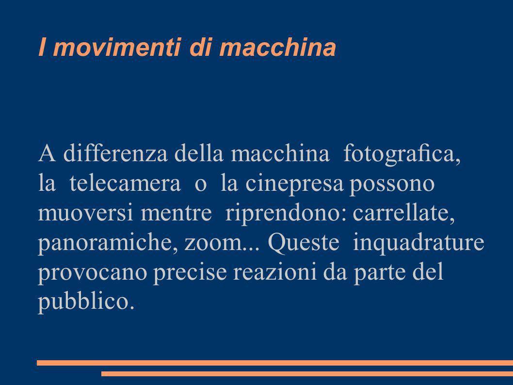 I movimenti di macchina A differenza della macchina fotograca, la telecamera o la cinepresa possono muoversi mentre riprendono: carrellate, panoramiche, zoom...