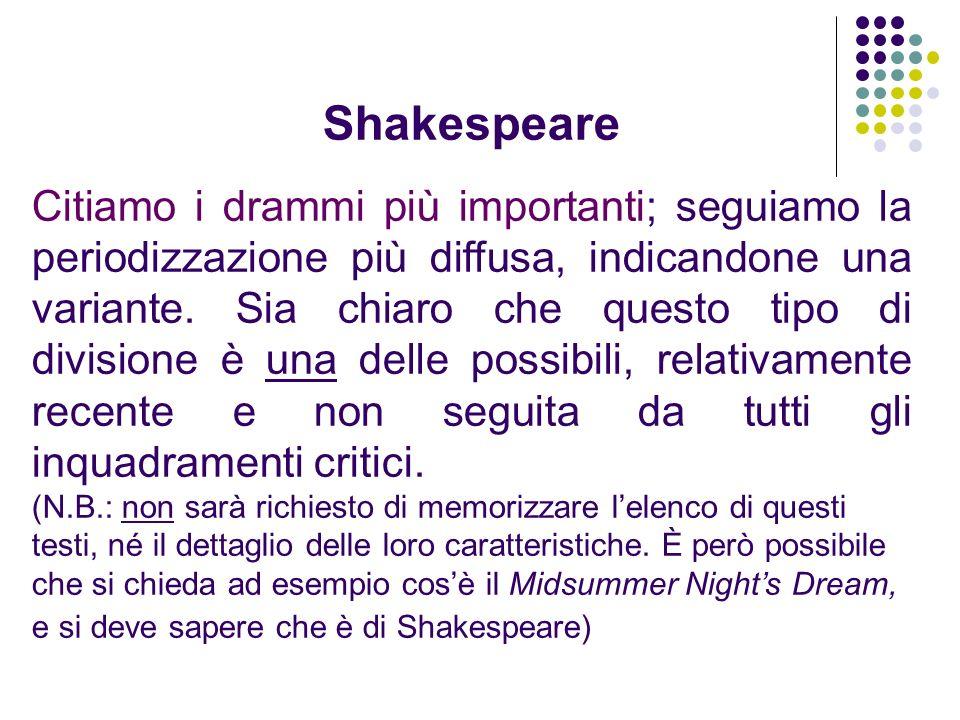Shakespeare Citiamo i drammi più importanti; seguiamo la periodizzazione più diffusa, indicandone una variante. Sia chiaro che questo tipo di division