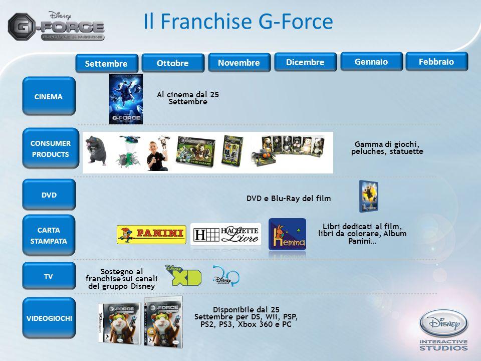Il Franchise G-Force DVD CINEMA CONSUMER PRODUCTS VIDEOGIOCHI Al cinema dal 25 Settembre Settembre Ottobre Novembre Dicembre GennaioFebbraio Gamma di
