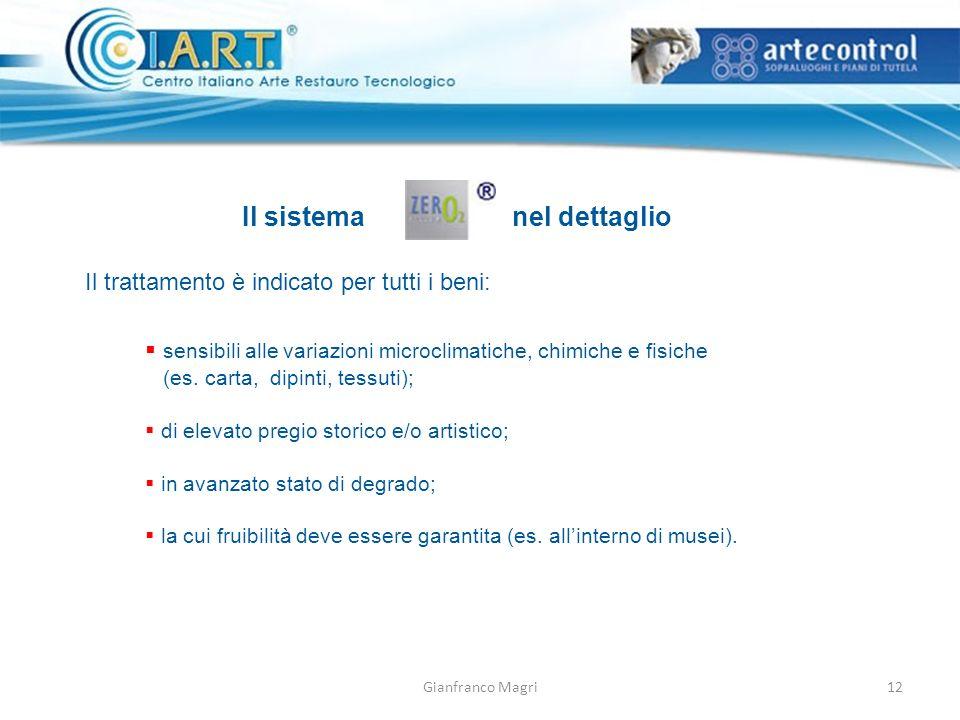 Gianfranco Magri Il sistemanel dettaglio Il trattamento è indicato per tutti i beni: sensibili alle variazioni microclimatiche, chimiche e fisiche (es.
