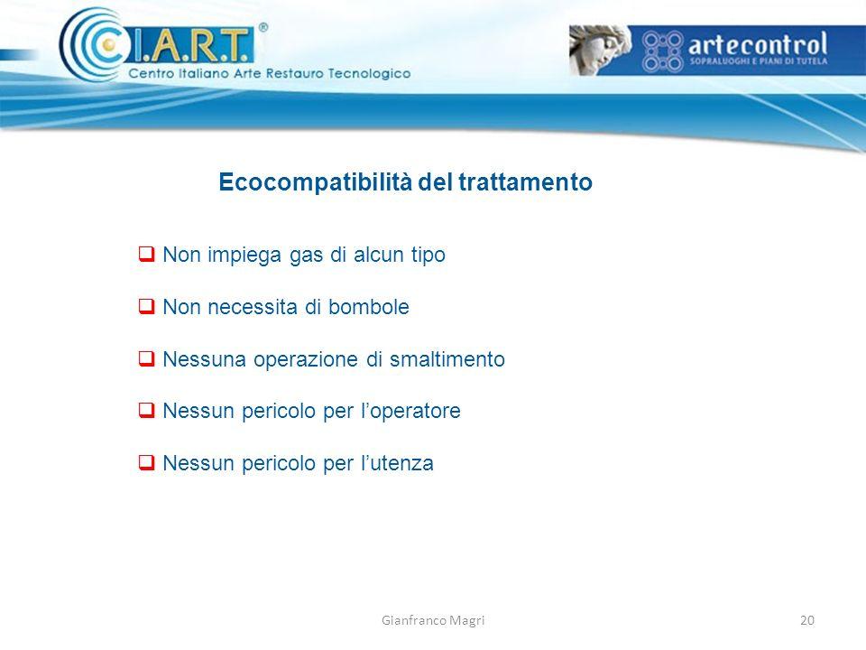 Gianfranco Magri Ecocompatibilità del trattamento Non impiega gas di alcun tipo Non necessita di bombole Nessuna operazione di smaltimento Nessun peri