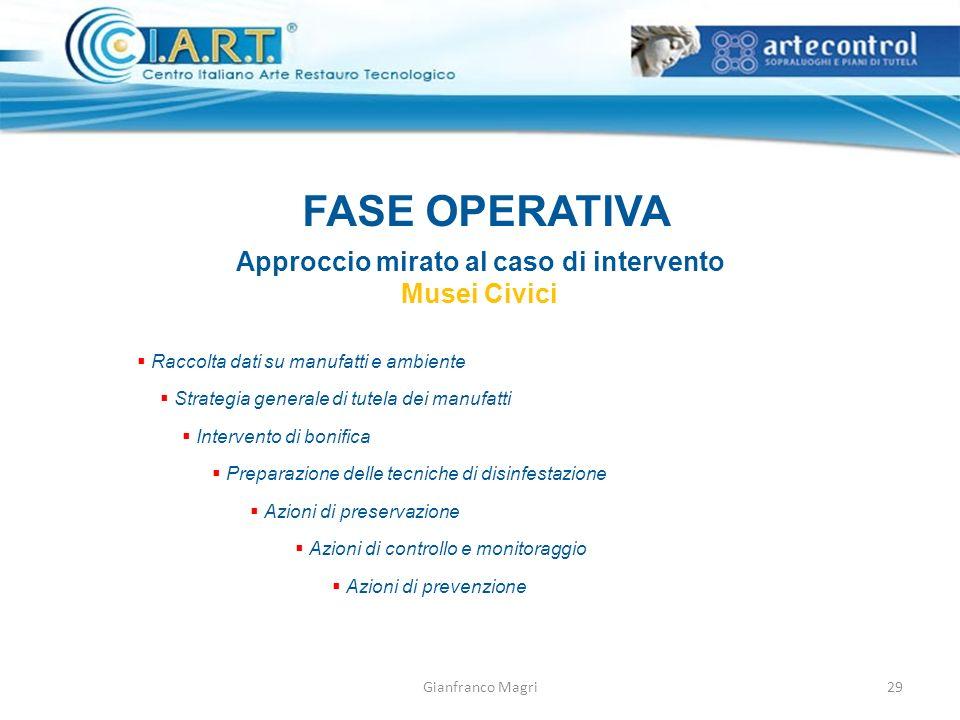 Gianfranco Magri FASE OPERATIVA Approccio mirato al caso di intervento Musei Civici Raccolta dati su manufatti e ambiente Intervento di bonifica Prepa