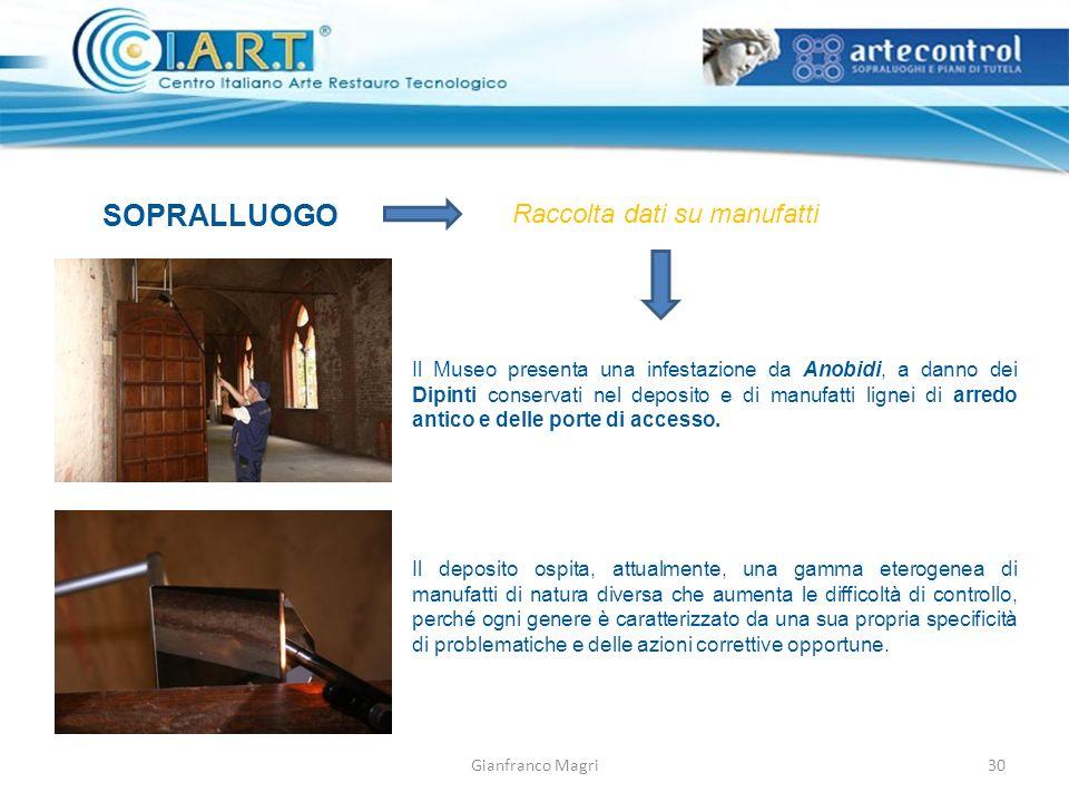 Gianfranco Magri SOPRALLUOGO Raccolta dati su manufatti Il Museo presenta una infestazione da Anobidi, a danno dei Dipinti conservati nel deposito e di manufatti lignei di arredo antico e delle porte di accesso.