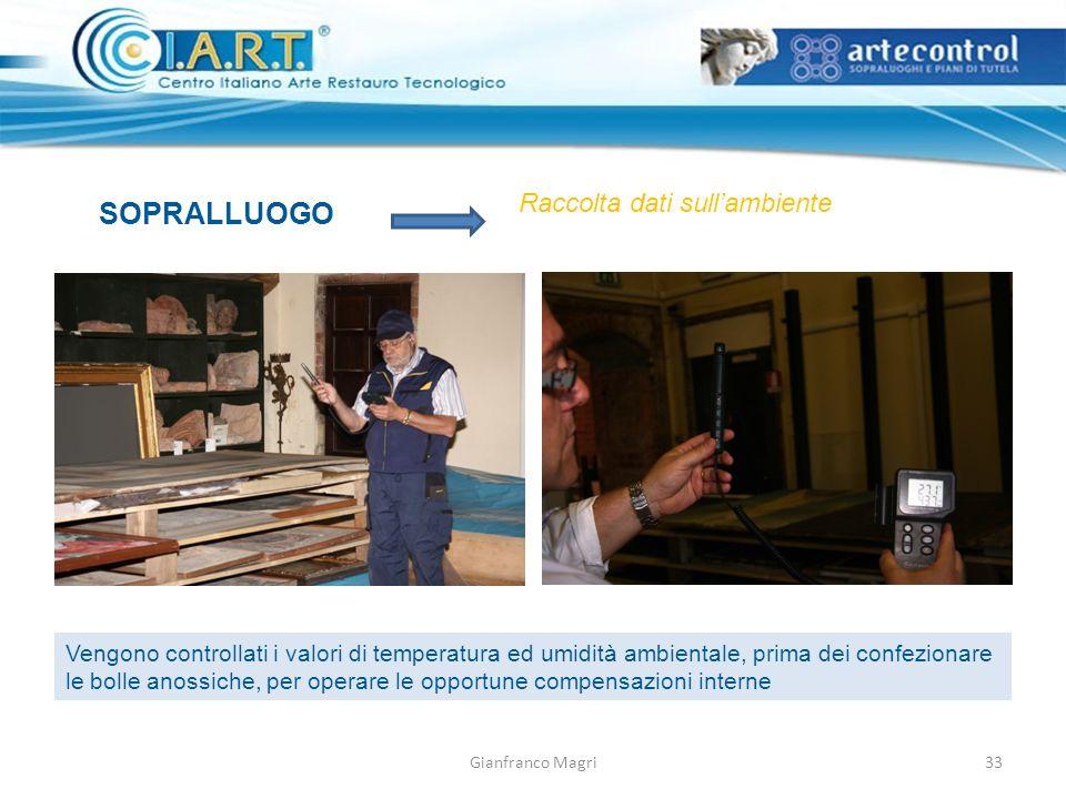 Gianfranco Magri SOPRALLUOGO Raccolta dati sullambiente Vengono controllati i valori di temperatura ed umidità ambientale, prima dei confezionare le bolle anossiche, per operare le opportune compensazioni interne 33