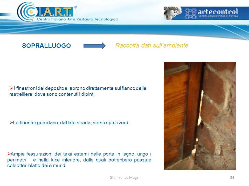 Gianfranco Magri SOPRALLUOGO Raccolta dati sullambiente I finestroni del deposito si aprono direttamente sul fianco delle rastrelliere dove sono contenuti i dipinti.