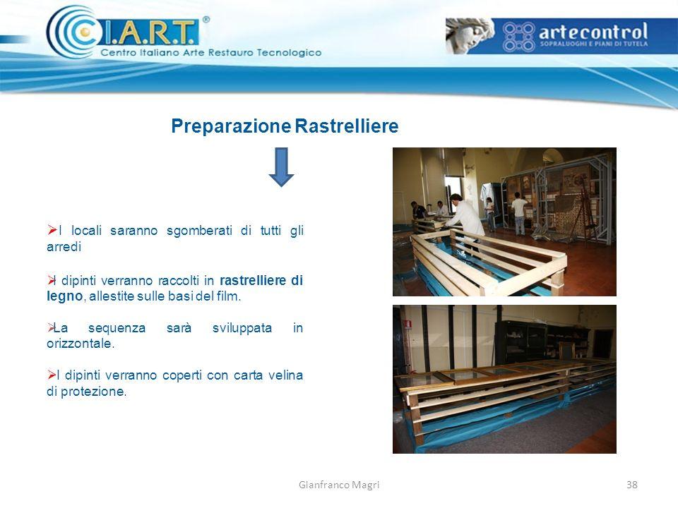 Gianfranco Magri Preparazione Rastrelliere I locali saranno sgomberati di tutti gli arredi I dipinti verranno raccolti in rastrelliere di legno, alles