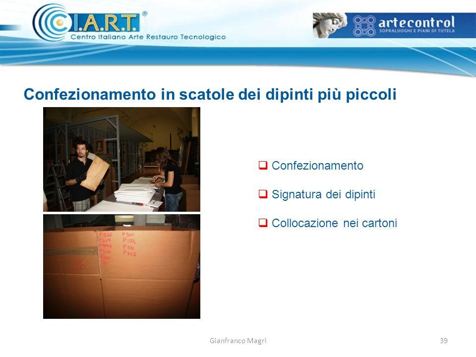 Gianfranco Magri Confezionamento in scatole dei dipinti più piccoli Confezionamento Signatura dei dipinti Collocazione nei cartoni 39