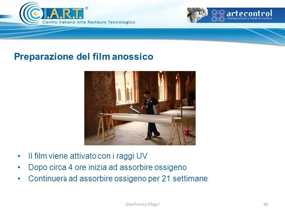 Gianfranco Magri Preparazione del film anossico 40 Il film viene attivato con i raggi UV Dopo circa 4 ore inizia ad assorbire ossigeno Continuer à ad
