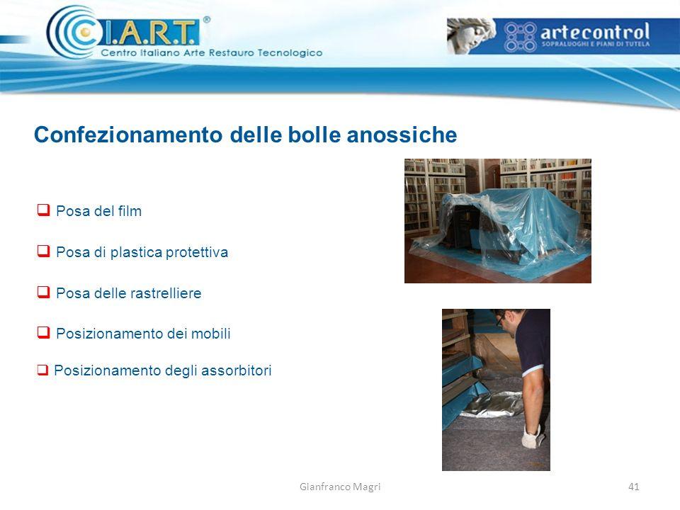 Gianfranco Magri Confezionamento delle bolle anossiche Posa del film Posa di plastica protettiva Posa delle rastrelliere Posizionamento dei mobili Posizionamento degli assorbitori 41