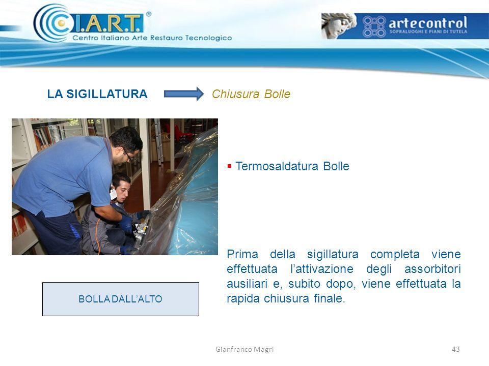 Gianfranco Magri LA SIGILLATURAChiusura Bolle Termosaldatura Bolle BOLLA DALLALTO Prima della sigillatura completa viene effettuata lattivazione degli