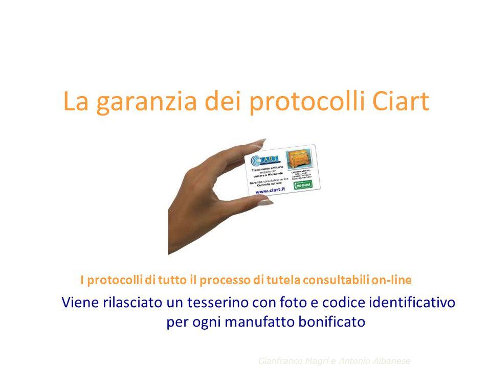 La garanzia dei protocolli Ciart I protocolli di tutto il processo di tutela consultabili on-line Viene rilasciato un tesserino con foto e codice identificativo per ogni manufatto bonificato Gianfranco Magri e Antonio Albanese