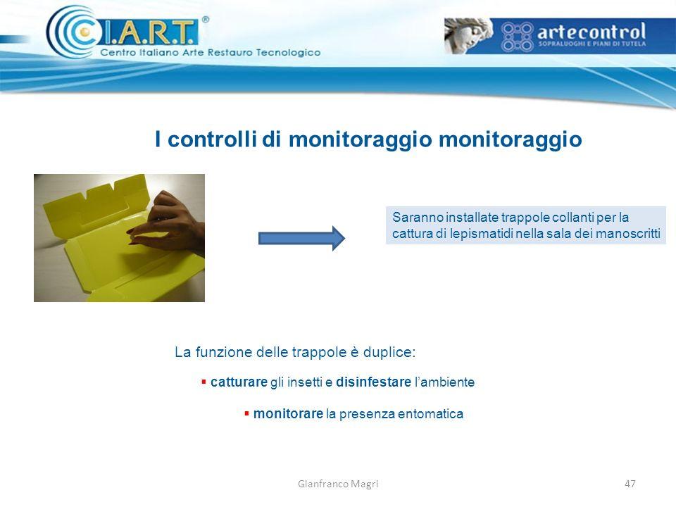 Gianfranco Magri I controlli di monitoraggio monitoraggio Saranno installate trappole collanti per la cattura di lepismatidi nella sala dei manoscritt