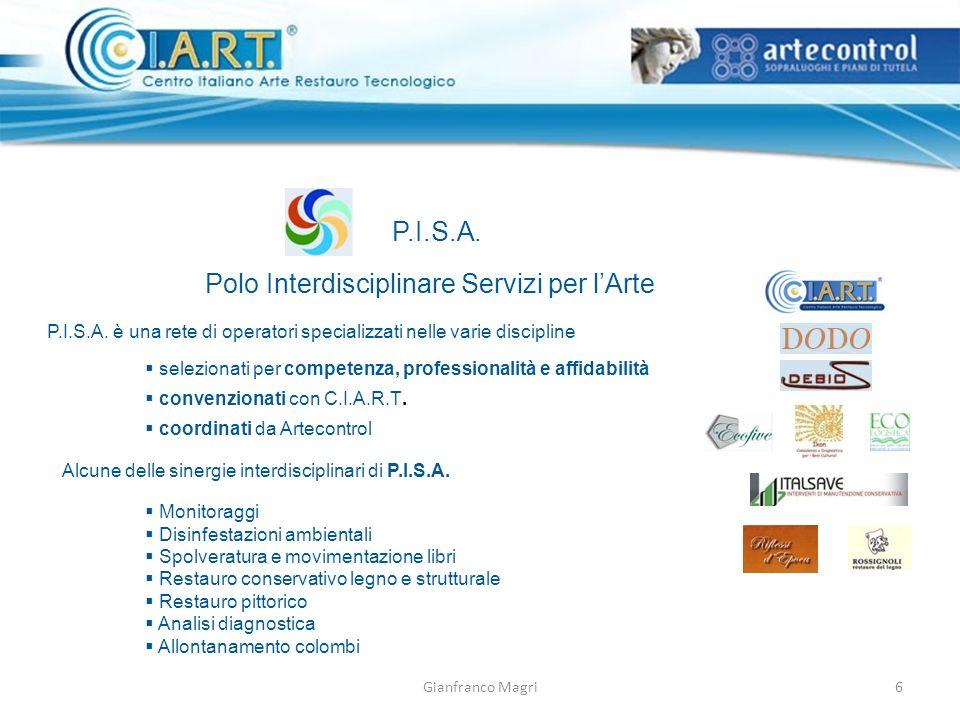 Gianfranco Magri P.I.S.A. Polo Interdisciplinare Servizi per lArte P.I.S.A. è una rete di operatori specializzati nelle varie discipline selezionati p