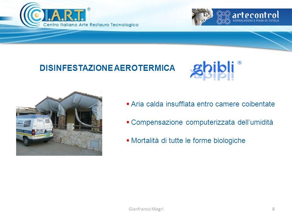 Gianfranco Magri DISINFESTAZIONE AEROTERMICA Aria calda insufflata entro camere coibentate Compensazione computerizzata dellumidità Mortalità di tutte