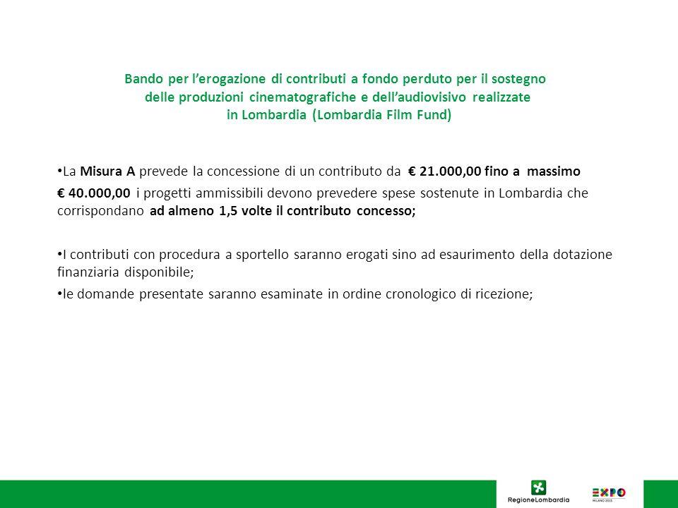 Bando per lerogazione di contributi a fondo perduto per il sostegno delle produzioni cinematografiche e dellaudiovisivo realizzate in Lombardia (Lomba