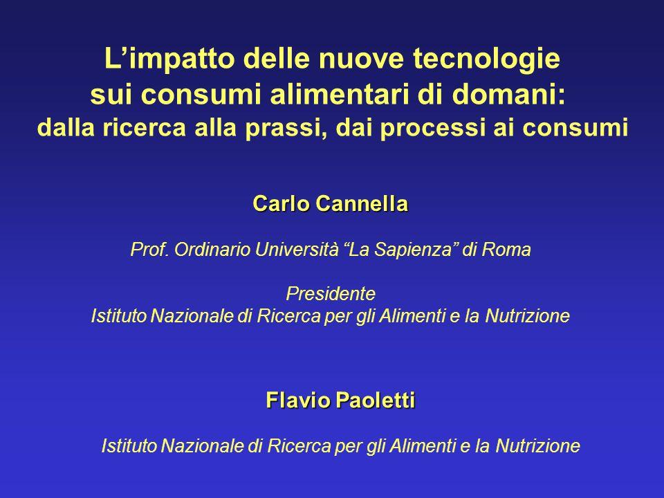 Carlo Cannella Prof. Ordinario Università La Sapienza di Roma Presidente Istituto Nazionale di Ricerca per gli Alimenti e la Nutrizione Limpatto delle