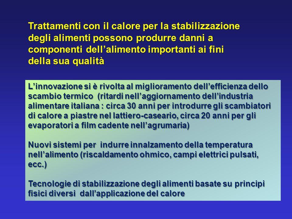 Trattamenti con il calore per la stabilizzazione degli alimenti possono produrre danni a componenti dellalimento importanti ai fini della sua qualità
