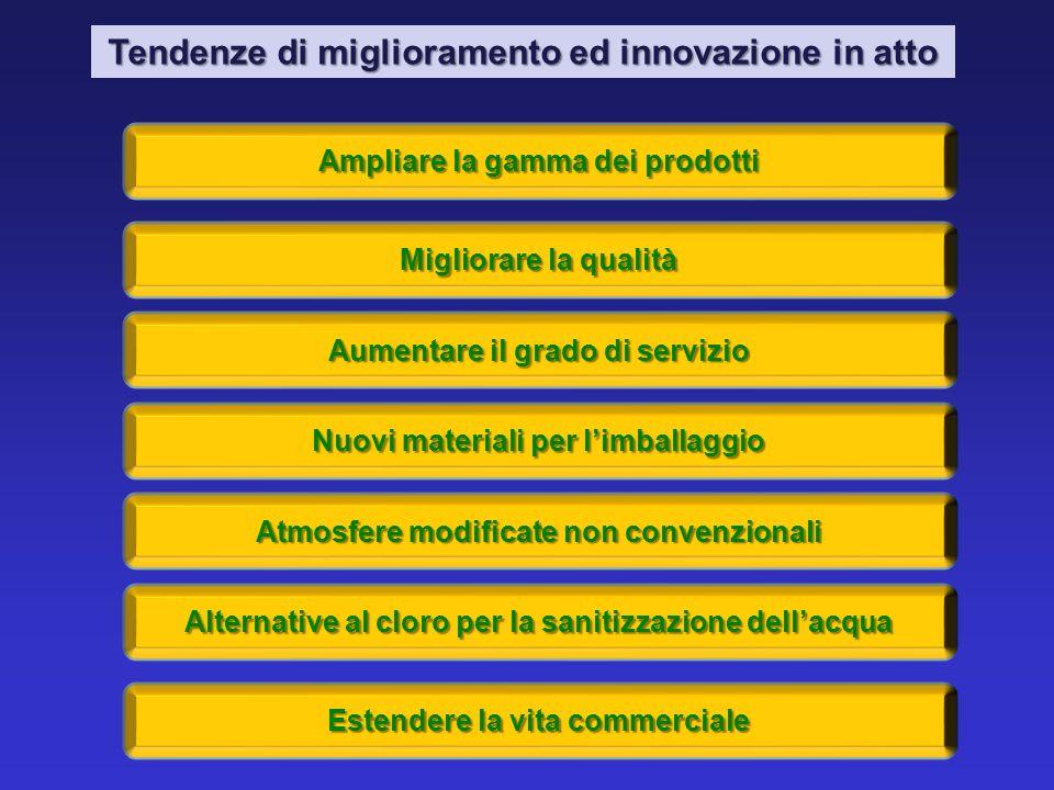 Tendenze di miglioramento ed innovazione in atto Ampliare la gamma dei prodotti Migliorare la qualità Aumentare il grado di servizio Nuovi materiali p