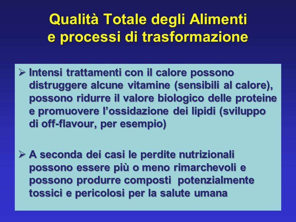 Qualità Totale degli Alimenti e processi di trasformazione Intensi trattamenti con il calore possono distruggere alcune vitamine (sensibili al calore)