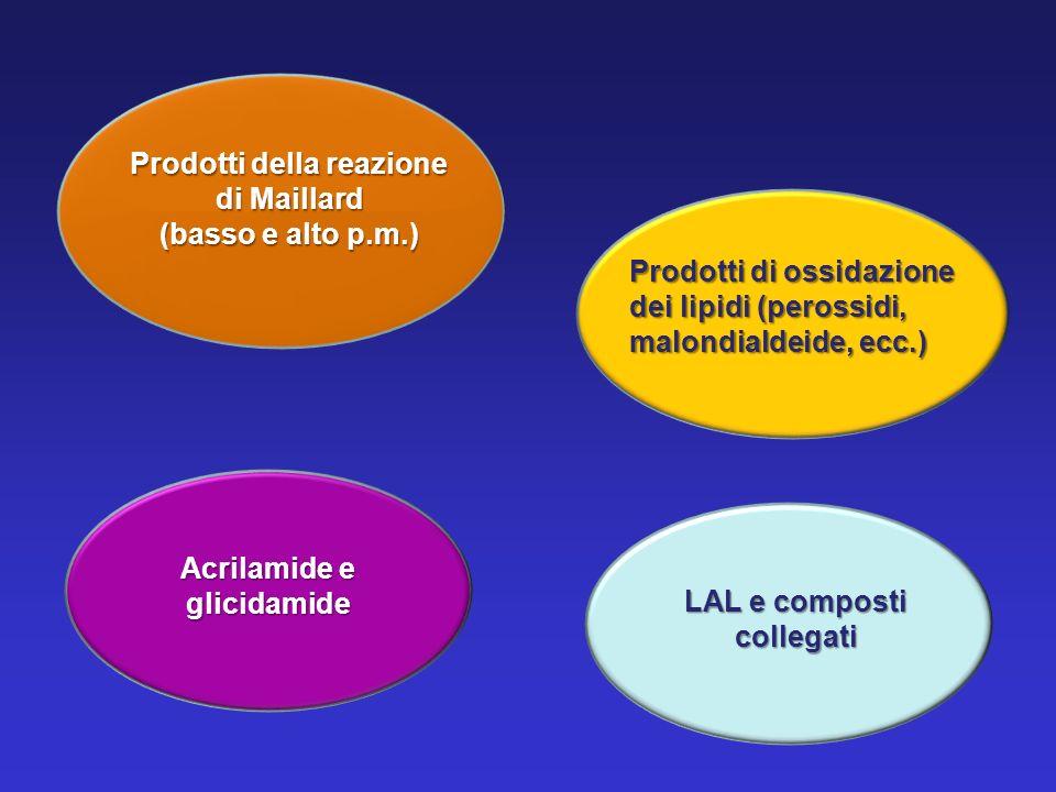 Prodotti della reazione di Maillard (basso e alto p.m.) Acrilamide e glicidamide LAL e composti collegati Prodotti di ossidazione dei lipidi (perossid