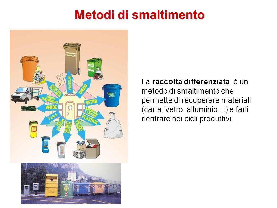 Metodi di smaltimento La raccolta differenziata è un metodo di smaltimento che permette di recuperare materiali (carta, vetro, alluminio…) e farli rie