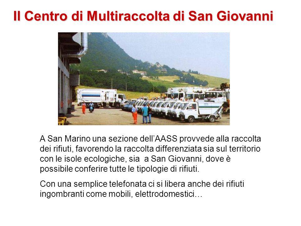 Il Centro di Multiraccolta di San Giovanni A San Marino una sezione dellAASS provvede alla raccolta dei rifiuti, favorendo la raccolta differenziata s