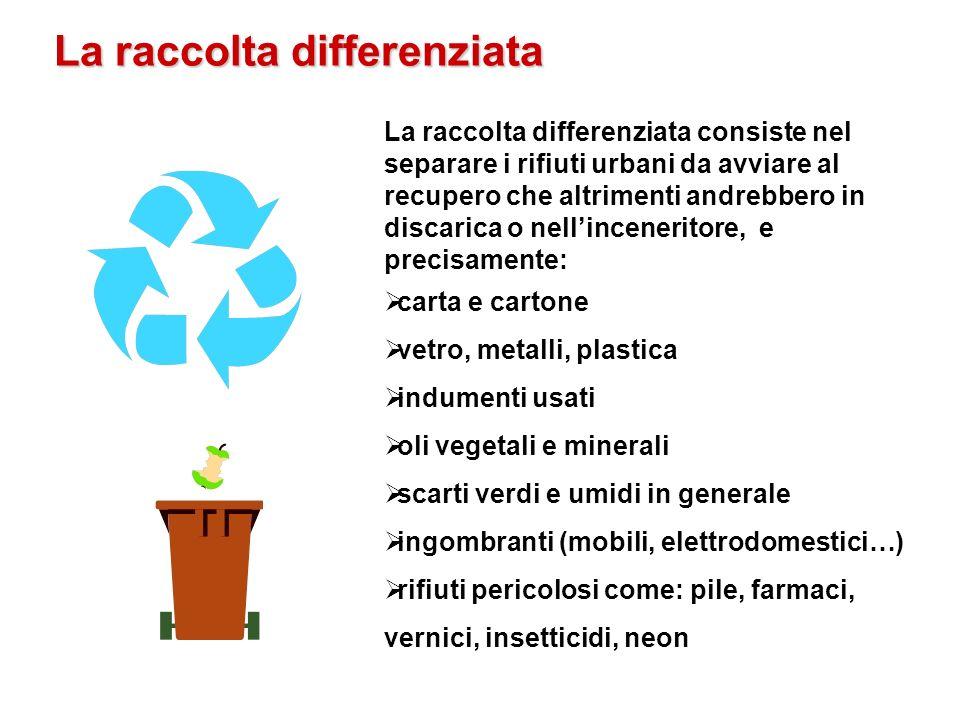 La raccolta differenziata La raccolta differenziata consiste nel separare i rifiuti urbani da avviare al recupero che altrimenti andrebbero in discari