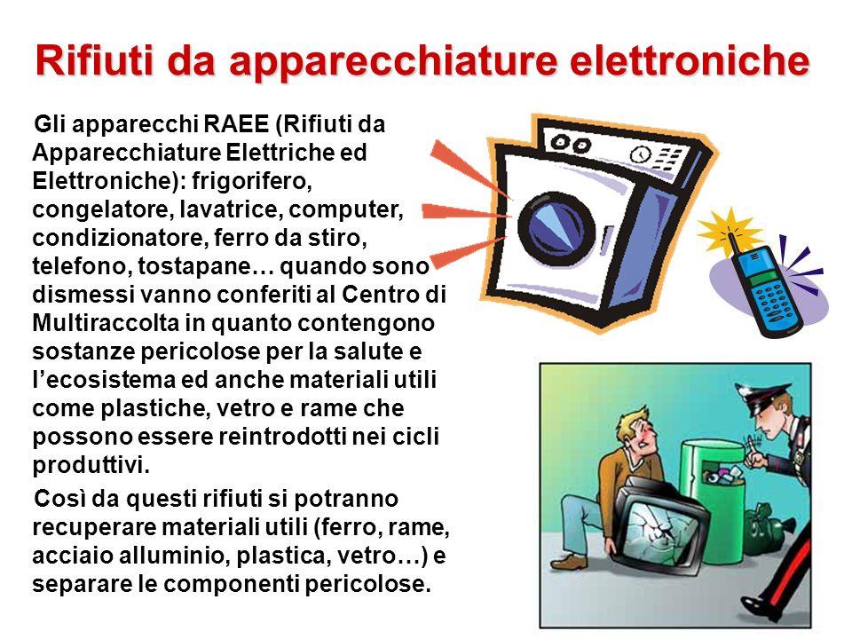 Rifiuti da apparecchiature elettroniche Gli apparecchi RAEE (Rifiuti da Apparecchiature Elettriche ed Elettroniche): frigorifero, congelatore, lavatri