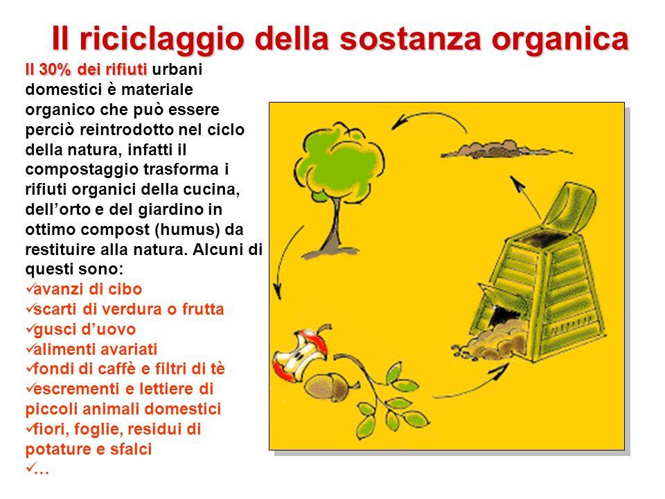 Il riciclaggio della sostanza organica Il 30% dei rifiuti Il 30% dei rifiuti urbani domestici è materiale organico che può essere perciò reintrodotto