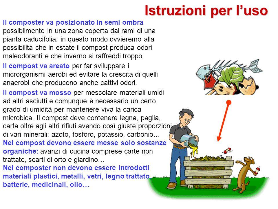 Istruzioni per luso Il composter va posizionato in semi ombra possibilmente in una zona coperta dai rami di una pianta caducifolia: in questo modo ovv
