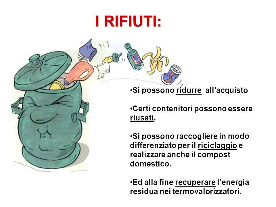 I RIFIUTI: Si possono ridurre allacquisto Certi contenitori possono essere riusati. Si possono raccogliere in modo differenziato per il riciclaggio e