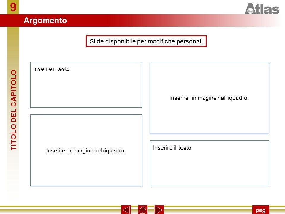 9 pag Slide disponibile per modifiche personali Inserire il testo Inserire limmagine nel riquadro.