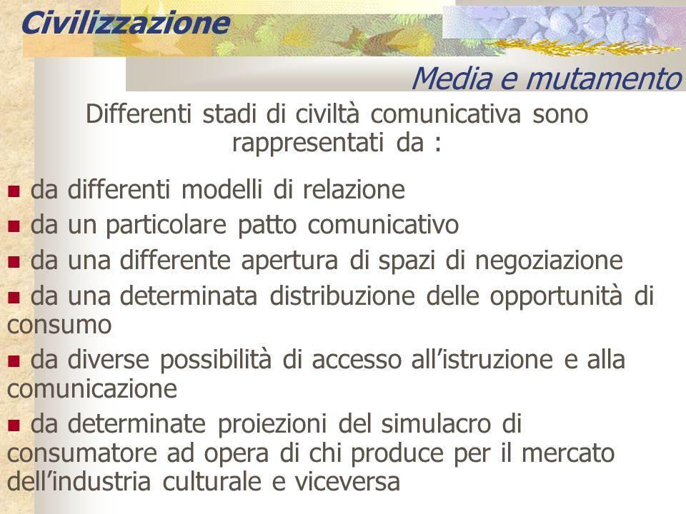 Differenti stadi di civiltà comunicativa sono rappresentati da : da differenti modelli di relazione da un particolare patto comunicativo da una differ
