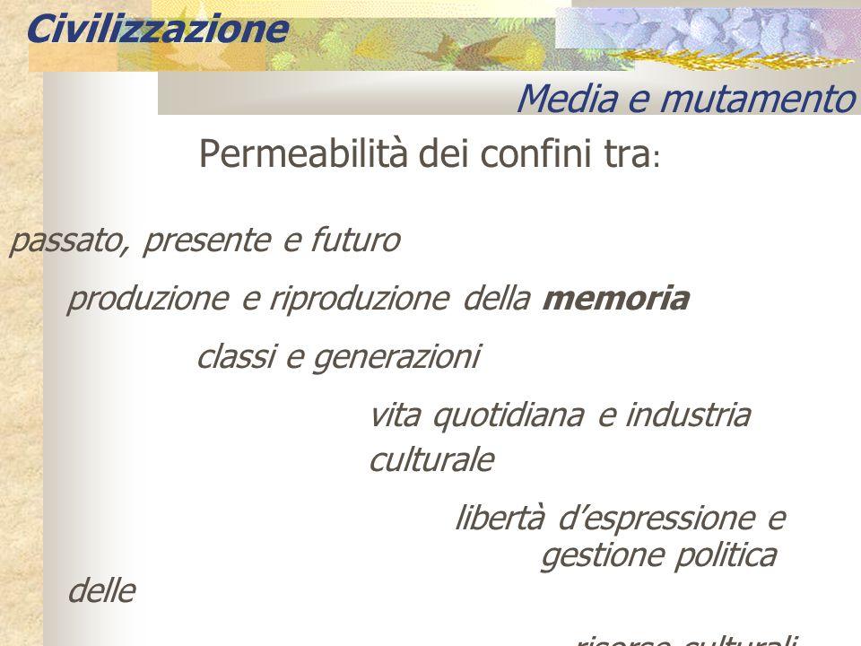 Permeabilità dei confini tra : passato, presente e futuro produzione e riproduzione della memoria classi e generazioni vita quotidiana e industria cul