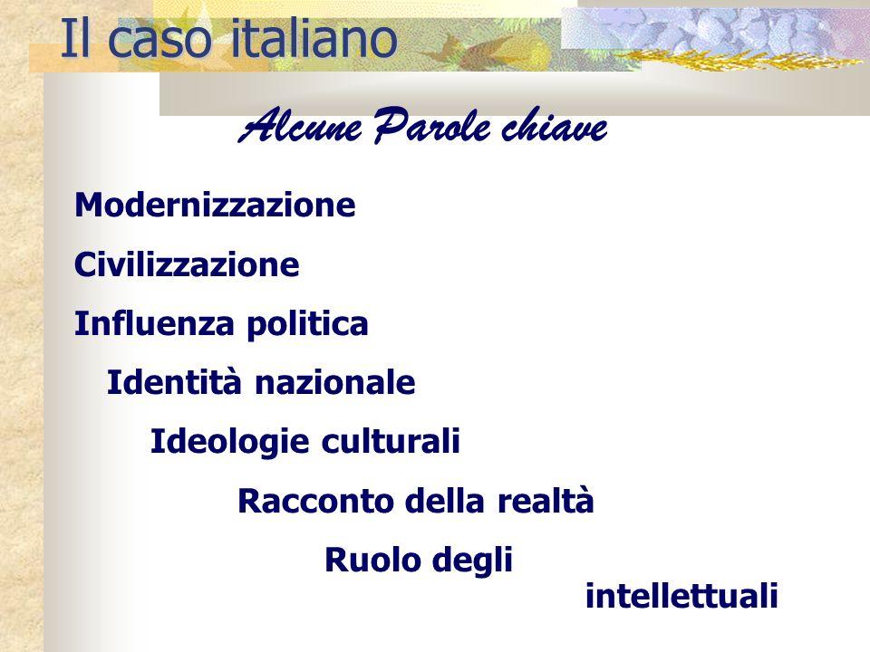 Modernizzazione Civilizzazione Influenza politica Identità nazionale Ideologie culturali Racconto della realtà Ruolo degli intellettuali Il caso itali