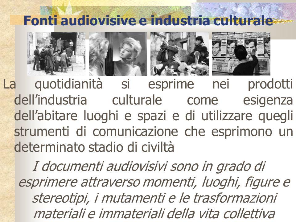 Fonti audiovisive e industria culturale La quotidianità si esprime nei prodotti dellindustria culturale come esigenza dellabitare luoghi e spazi e di