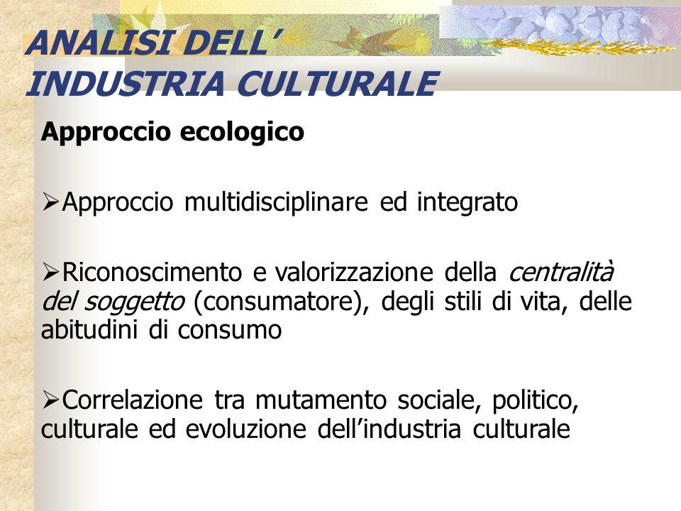 Approccio ecologico Approccio multidisciplinare ed integrato Riconoscimento e valorizzazione della centralità del soggetto (consumatore), degli stili